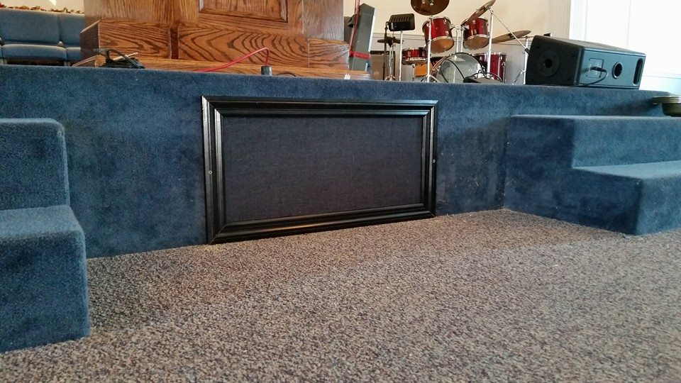 Subwoofer installation in stage - Temple Baptist - Milan, TN