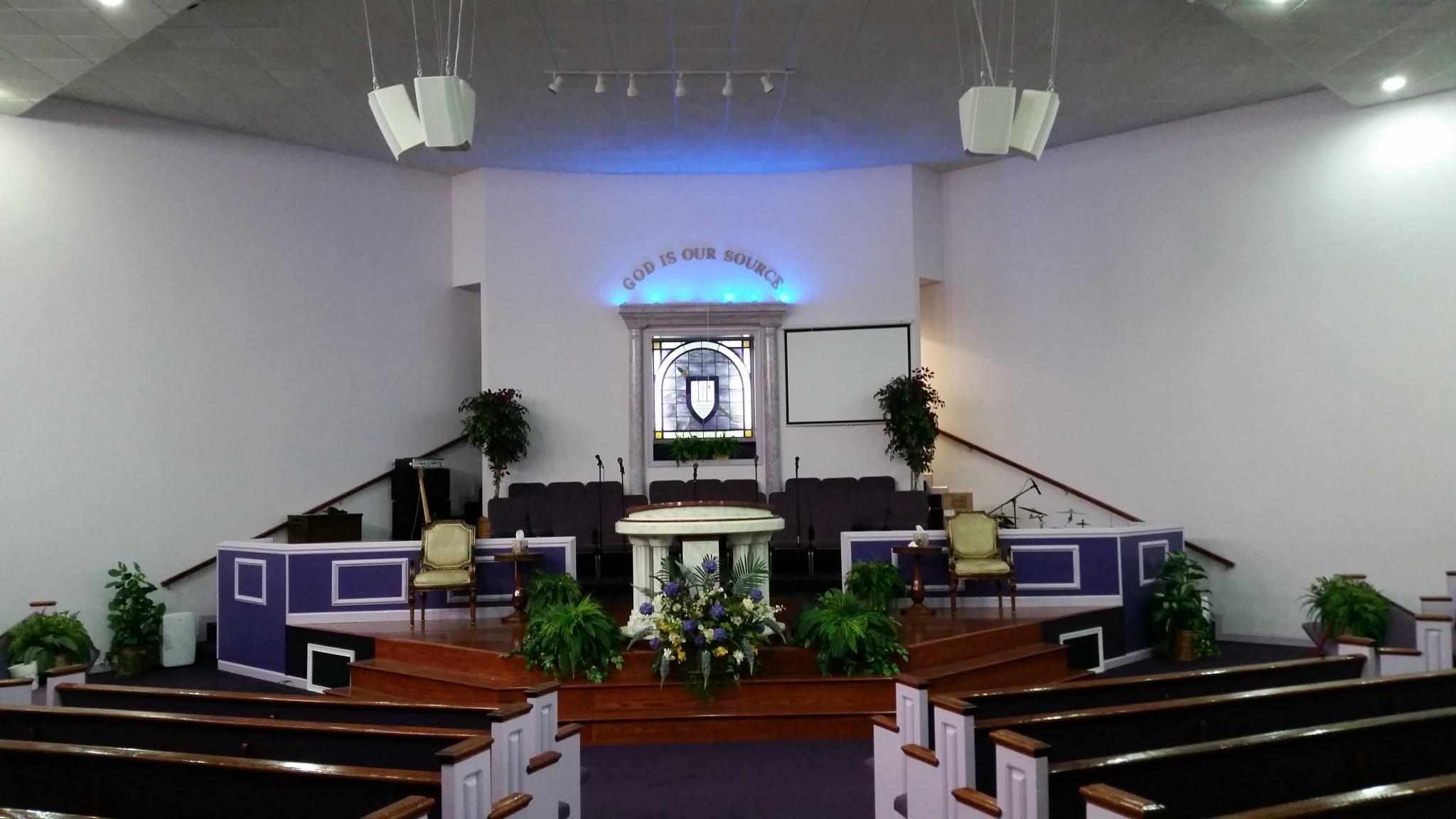 Speaker upgrade at Faith Deliverance Church.