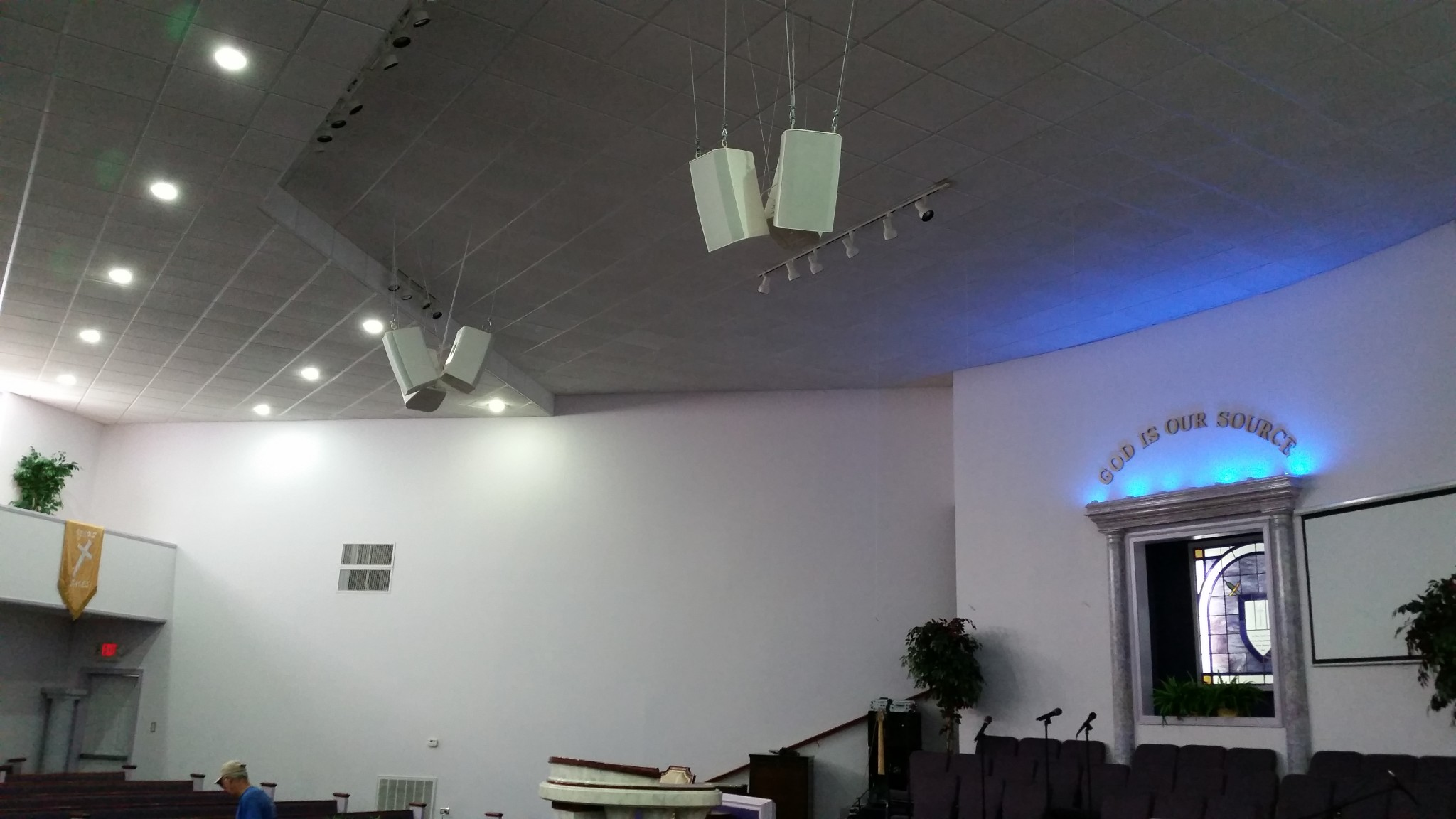 Another side view of speaker upgrade at Faith Deliverance Church.